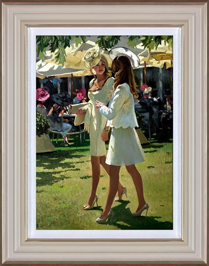 The Colour and Glamour of Ascot by Sherree Valentine Daines - Framed Limited Edition Canvas on Board