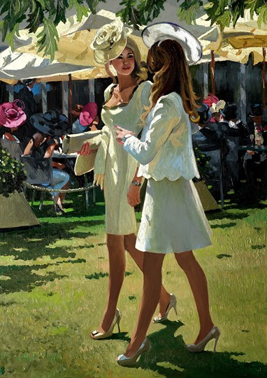 The Colour and Glamour of Ascot by Sherree Valentine Daines - Limited Edition Canvas on Board